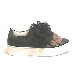 Black Nappa Leather Hope Scamiciata Sneaker With Flowers High Women's Bottom D19ho02