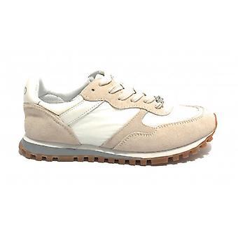 Scarpe Sneaker Running Liu-jo Mod. Alexa In White Suede Beige Fabric Woman D20lj03