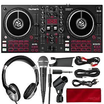 Numark mixtrack platinum fx 4-deck serato dj controller med jogginghjulsdisplayer och fx paddlar , med hörlurar, mikrofon och viktig ps08295