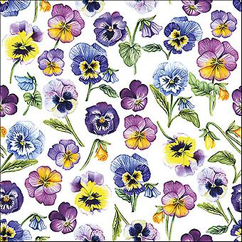 Ambiente 3 Ply Paper Napkins, Pansy All Over