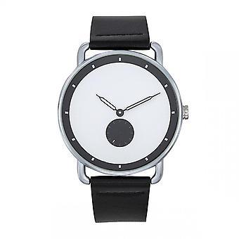 Trendy Classic CC1044-31 Watch-Dash Bo tier staal zilver lederen armband zwart zwart zwarte wijzerplaat blanke mannen