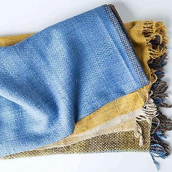 "Spura Home Indian Handmade Artisan Color Block Warm Silk Throw 50""x70"""