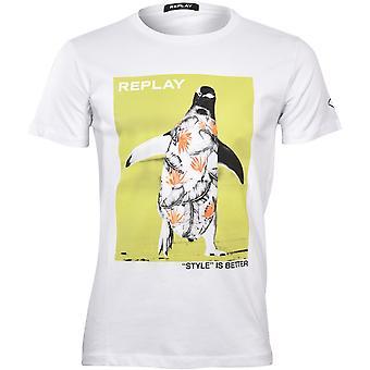 הפעל שוב פינגווין & סגנון הוא טוב יותר& חולצת טריקו, לבן