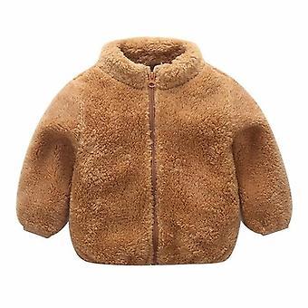 Talvitakit Söpö Vetoketju Kiinteä Lämmin Paksu Fleece Takki Lasten vaatteet