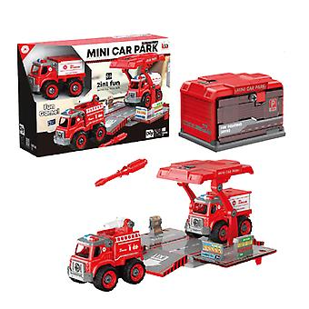 Children's disassembly and assembly of fire-fighting container truck toys