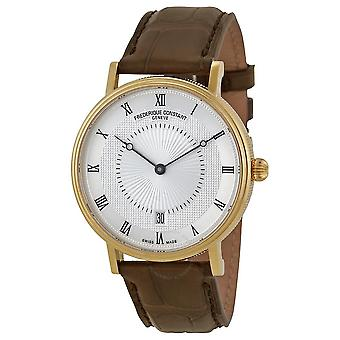 Frederique Constant Silver Guilloche Dial Brown Leather Men's Watch FC-306MC4S35