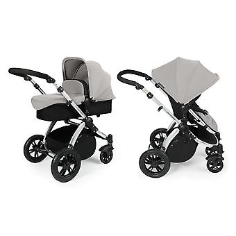 Ickle Bubba Stomp v3 2-in1 Pushchair and Carrycot - Silver with Silver Chassis