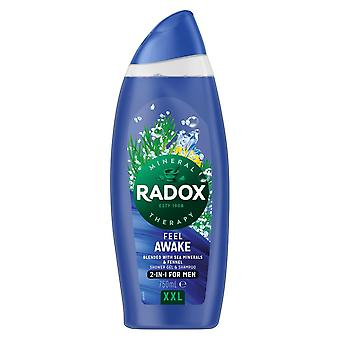 6x750ml Radox Mineral Therapy Feel Awake 2-in-1 XXL Men's ShowerGel &Shampoo