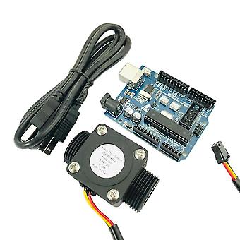 "Arduino and water flow sensor usn-hs43ta g3/4"" totalizer flow measurement with nylon water flow sensor turbine flowmeter isentro"