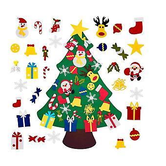 3.2FT Vägg filt julgran hängande ornament Grön