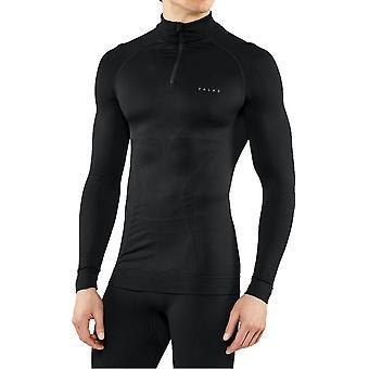 Falke Maximal varm långärmad dragkedja skjorta - svart