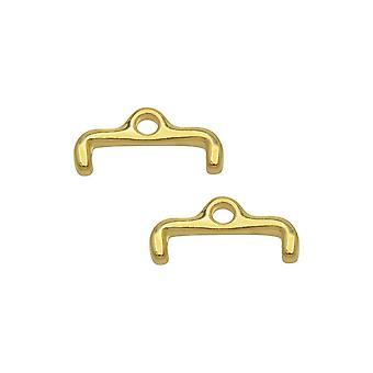 Cymbal perle avslutninger for 11/0 Delica & Runde perler, Skafi II, 6x13.5mm, 2 Stykker, 24k Gullbelagt