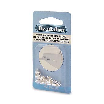 Beadalon Crimp Pärlor, Rör 6x2.5mm, För 1mm Gummi Stretch Sladdar, 40 Stycken, Silver pläterad