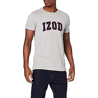 Izod Solid Logo Arch Tee Polo T-shirt, Grey (Lt Grey Htr 052), L Man