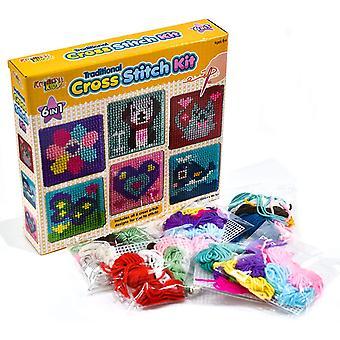 FengChun Kinder 6-in-1 Kreuzstich Kit   6 verschiedene Stickbretter mit 36 farbigen Fäden