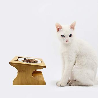 Katzennäpfe Hundenapf Hoch Katzenschüssel Set Keramik und Edelstahl mit Holzunterstützung Für Katzen