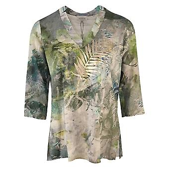 Just White Green Tropical Floral Print V-neck Top With 3/4 Sleeves