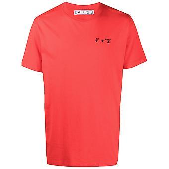 Off White Geborduurd Logo Rood T-Shirt