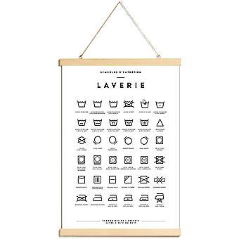 JUNIQE Print - Laverie - Pôster de Tipografia e Símbolos em Preto e Branco