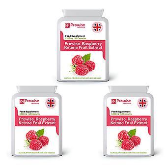 Pack of 3 - Raspberry Super Strength 60 Capsules | Suitable For Vegetarians & Vegans | Made In UK by Prowise