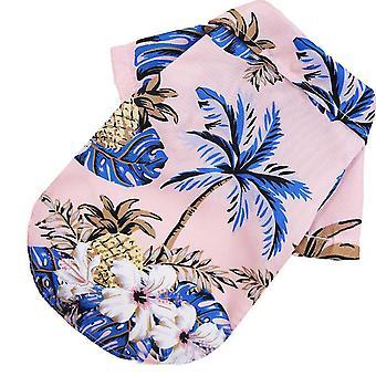 القط الملابس لطيف نمط الشاطئ الأناناس شجرة جوز الهند قميص هاواي ملابس الحيوانات الأليفة