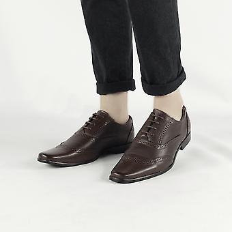 Shumo Kensington Mens Oxford Brogue Shoes Brown