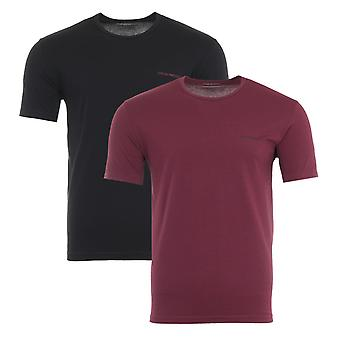 Emporio Armani Loungewear 2 Pack Stretch Cotton T-Shirts - Black & Grenade