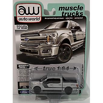 2019 Ford F-150 XLT Sport Iconic Silver 1:64 Scale Auto World 64282A