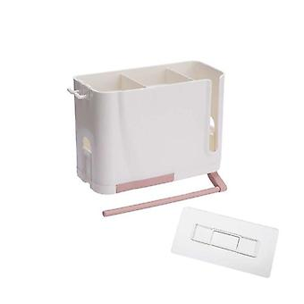 Wall Mounted Cutlery Drainer Rack With Drip Tray Towel Bar Utensils Organizer Spoon Fork (Pink)
