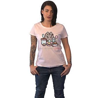Pusheen T Shirt Eat Dessert First Logo new Official Womens Skinny Fit White