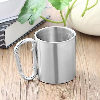 Outdoor Stainless Steel Water Tea Coffee Mug Self Lock Carabiner Handle Cup