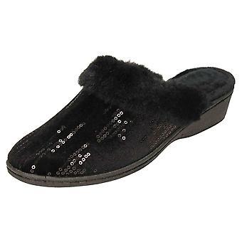 JWF Mule Slippers Wedge Heel Sequin Clogs Black