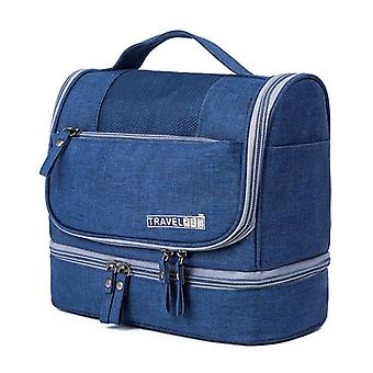 Neutral Bath Bag, Travel Beauty Bag, With Wet Compartment, (blue)