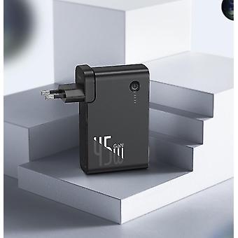أسود 2 في 1 بنك الطاقة 10000mAh شاحن 2 في 1 PDAFC USB سريع لفون سامسونج ماك بوك برو