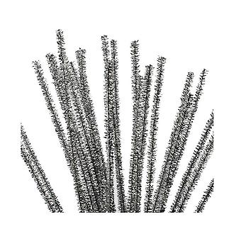 24 metallinen hopea 6mm Tinsel Pipe siivo ojat | Glitter-Pipecleaners