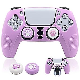 Ps5 Controller Skin Dockable Kawaii Accessories Silicone Grip Cover Case Set For Playstation 5 Gamepad Joystick With 2 Cute Cat Claw Thumb Caps (purpl