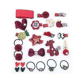 24Pcs Children'S Hair Ornament Set Girl'S Butterfly Tie Cartoon Clip Headdress Set - B Red