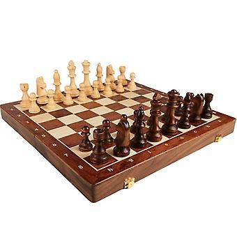 Jeu d'échecs de qualité supérieure pliant en bois grand classique traditionnel travail manuel pièces en bois massif noyer enfants jeu de société cadeau