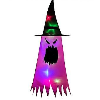 Halloween Decorations Witch Hat,  Hanging Lighted Glowing Witch Hat Decorations(Purple)