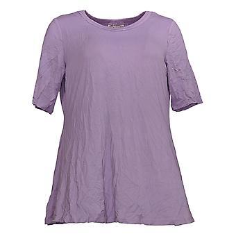 LOGO by Lori Goldstein Women's Top Elbow-Sleeve Swing Purple A379902