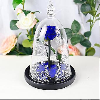 الحفاظ على زهرة الانتهاء من الغطاء الزجاجي روز عيد الميلاد عيد الحب هدية (الأزرق)