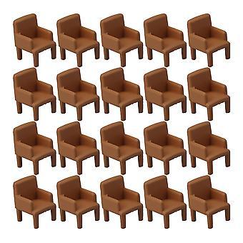 اكسسوارات بيت الدمى 20pcs مصغرة الكراسي 1:50 نموذج الأثاث لأجزاء غرفة المعيشة البني