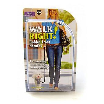 "Kustdjur promenad höger vadderad sele - svart - liten (Omkrets storlek 16""-24"")"