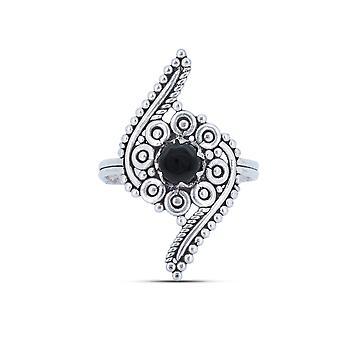 Ring Silver 925 Sterling Silver Onyx Black Stone (Nr: IRM 173)
