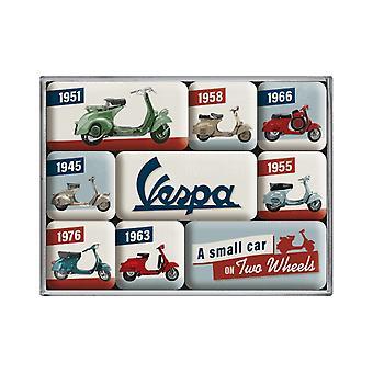 Uppsättning av 9 Vintage Vespa Motorcykel Modell Diagram Nostalgiska Magneter
