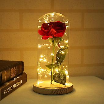 Rose In Flask Beauty Table Lamp Red Rose With Led Light Glass Dome For Valentine's Day Mother's Day Gift Art Deco Bedside Lamp