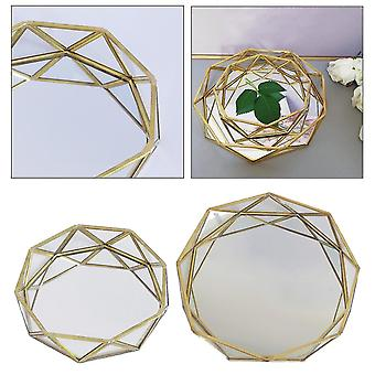 Decorative trays luxury scandinavian geometric pattern mirrored glass metal storage and organising tray l