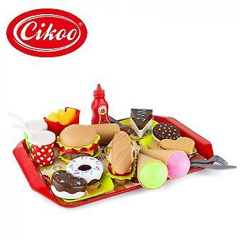 Caraele Toy Food Pretend Play Food Set, faire semblant de jouer des jouets de rôle pour l'apprentissage préscolaire éducatif, couper Pizza Hamburger