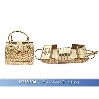 Small Champagne Jewellery Box Crocodile Skin Print with Mirror
