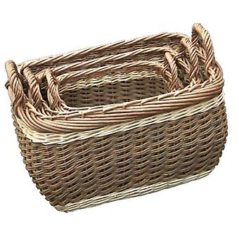 Set of 3 Three Tone Storage Wicker Log Baskets